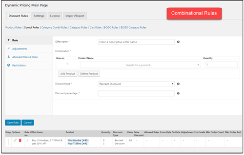 ELEX WooCommerce Dynamic Pricing   Combination Rules