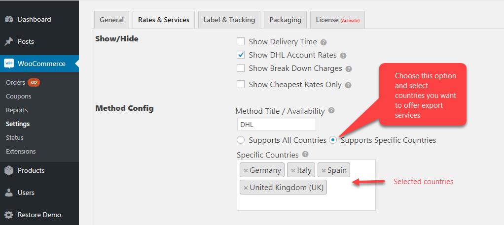 WooCommerce DHL shipping plugin