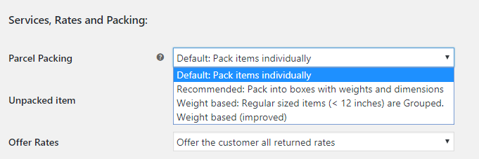 Parcel Packing Options USPS Plugin