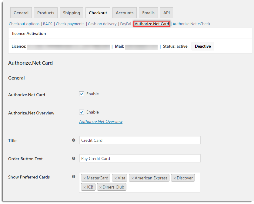 WooCommerce Authorize.Net - General Settings