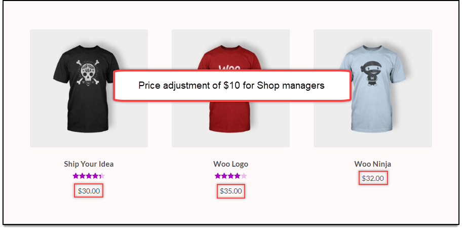 WooCommerce Role-based | Price adjustments of $10 for Shop Managers