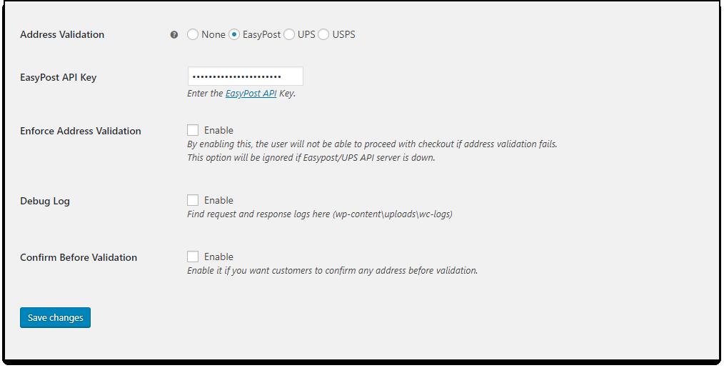 WooCommerce Address Validation settings