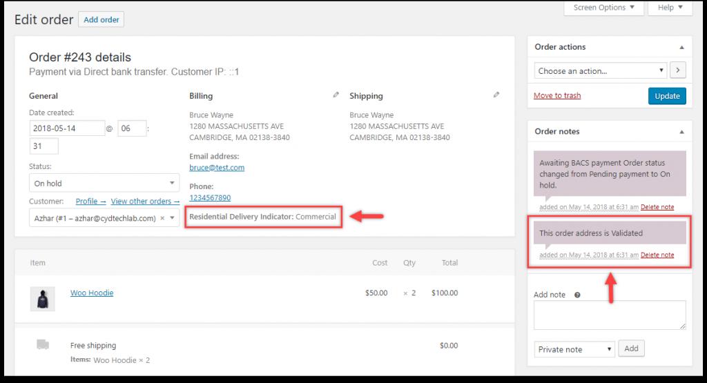 WooCommerce Address Validation | Address Type & Order Note