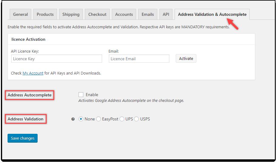 WooCommerce Address Validation & Autocomplete Settings