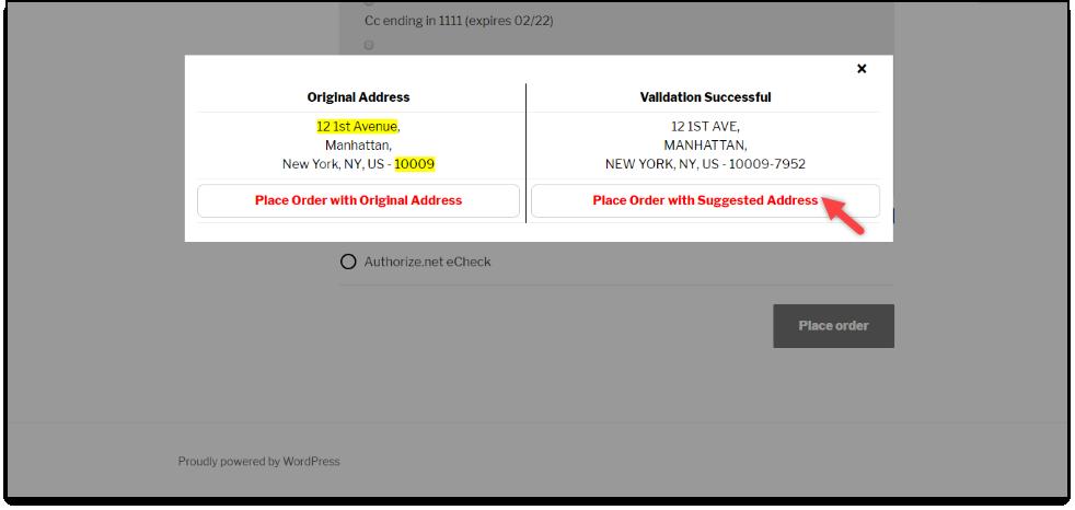 WooCommerce Address Validation | Choose Desired Address in Pop-Up Window