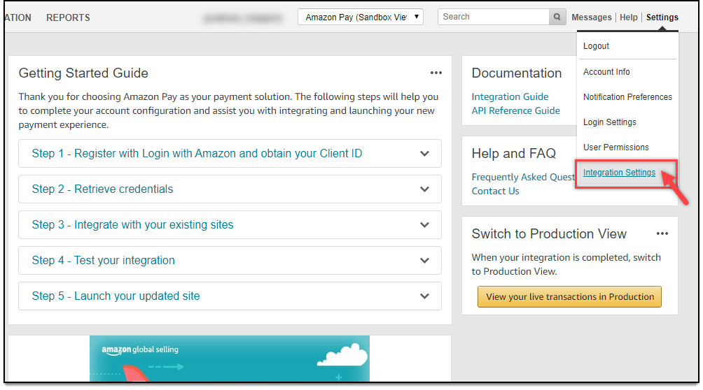 WooCommerce Amazon Payments | Selecting Integration Settings