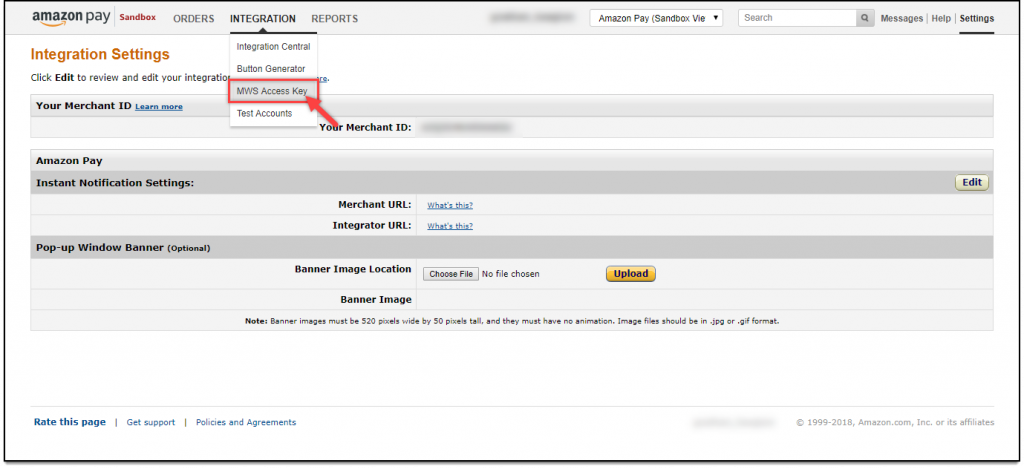 WooCommerce Amazon Payments | Selecting MWS Access Key