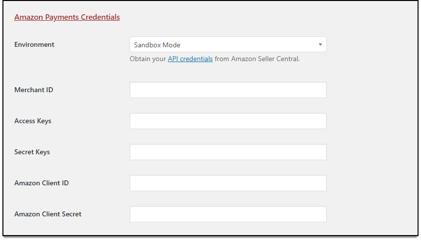 WooCommerce Amazon Payments | Required Amazon Payment Credentials