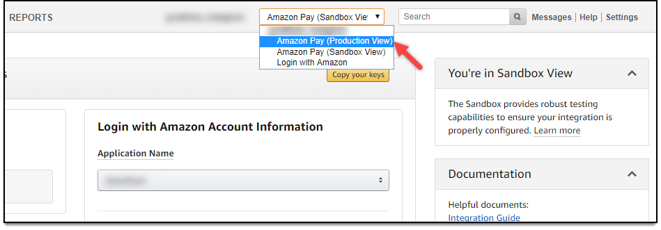 WooCommerce Amazon Payments | Selecting Amazon Pay (Production View)
