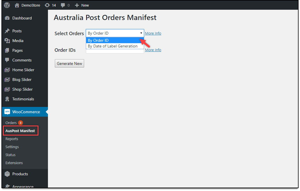 WooCommerce Australia Post Plugin | AusPost Orders Manifest Dashboard