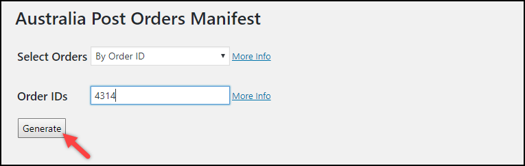 WooCommerce Australia Post Plugin | Generating Order Manifest with Order ID