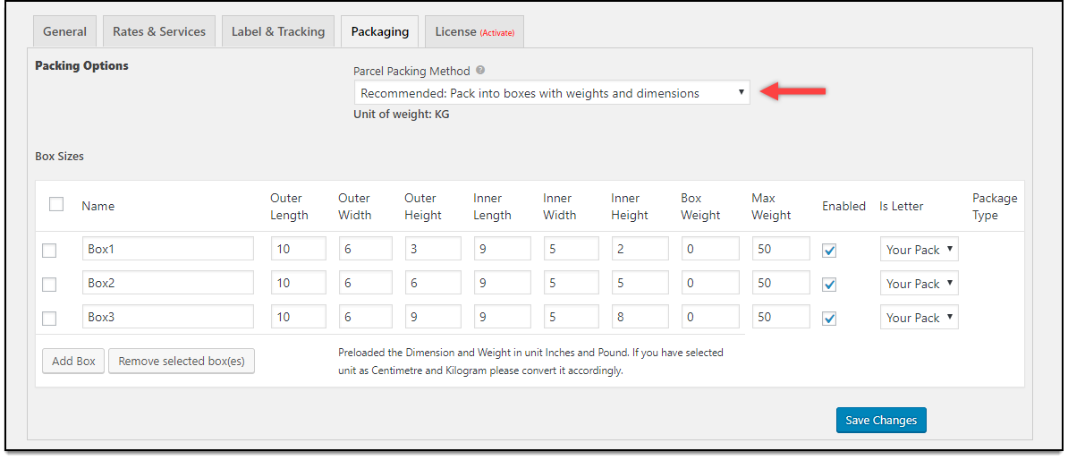 WooCommerce Australia Post Plugin | Box Size Table