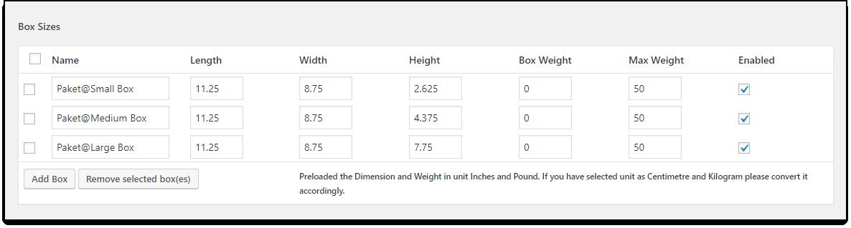 WooCommerce DHL Paket   Box Sizes