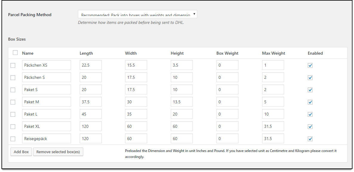 WooCommerce DHL Paket   Pack based on Weights and Dimensions