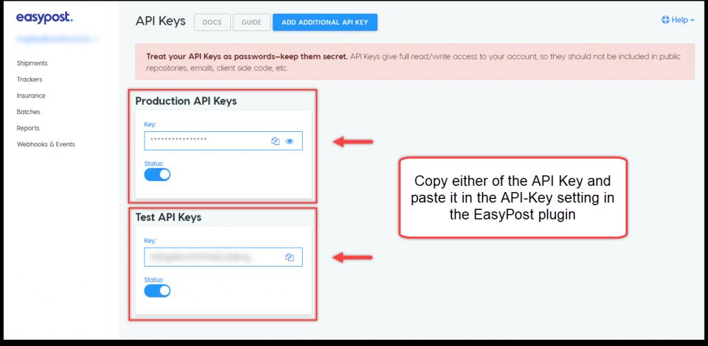 WooCommerce EasyPost Shipping | EasyPost API Keys