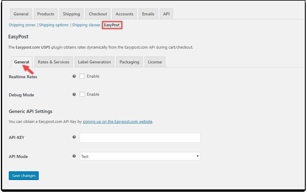 WooCommerce EasyPost Shipping | General settings