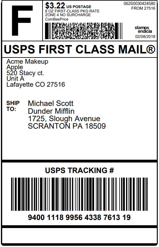 WooCommerce Stamps.com-USPS | Sample Stamps.com USPS Shipping Label