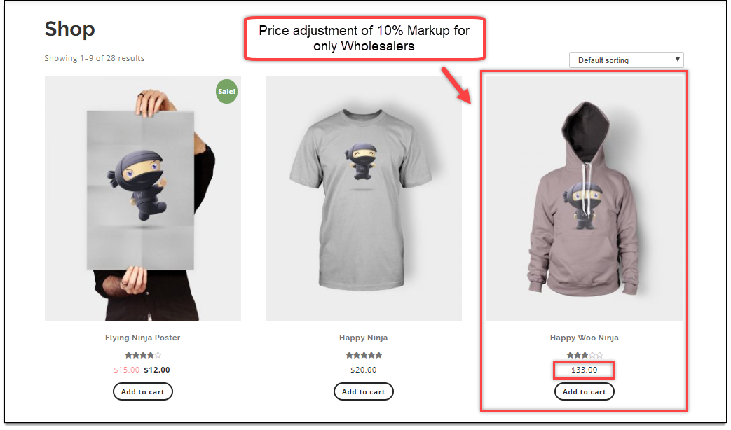 ELEX WooCommerce Wholesale Pricing | Product price adjustment applied for Wholesalers