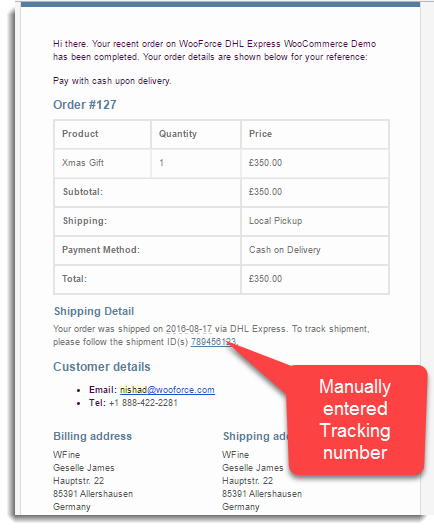 Manual Shipment Tracking Number
