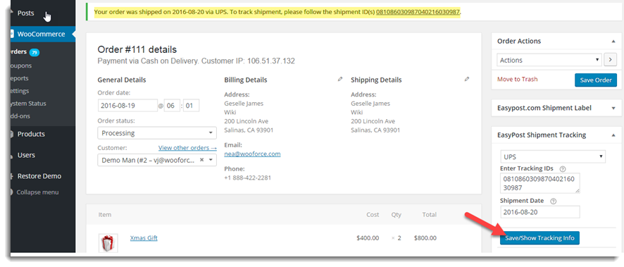 Shipment Tracking Message
