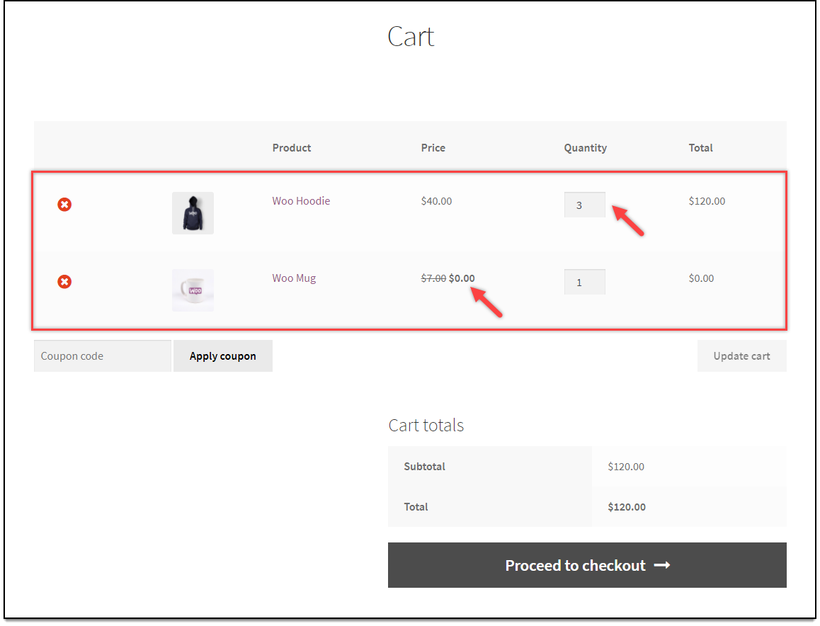 WooCommerce Dynamic Pricing & Discounts | Buy One Get One Rule Applied