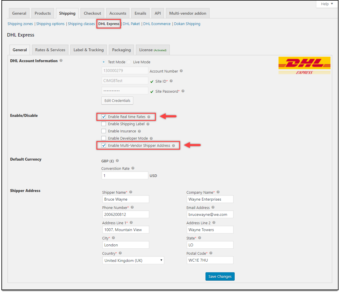 WooCommerce Multi-Vendor Add-On | DHL Express settings