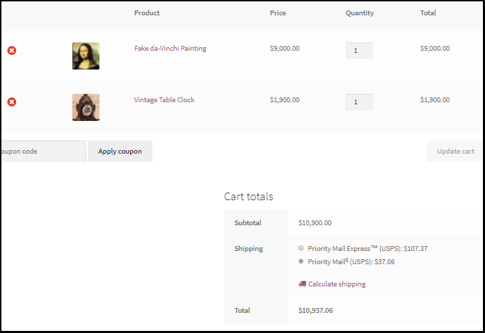 WooCommerce Shipping Cart