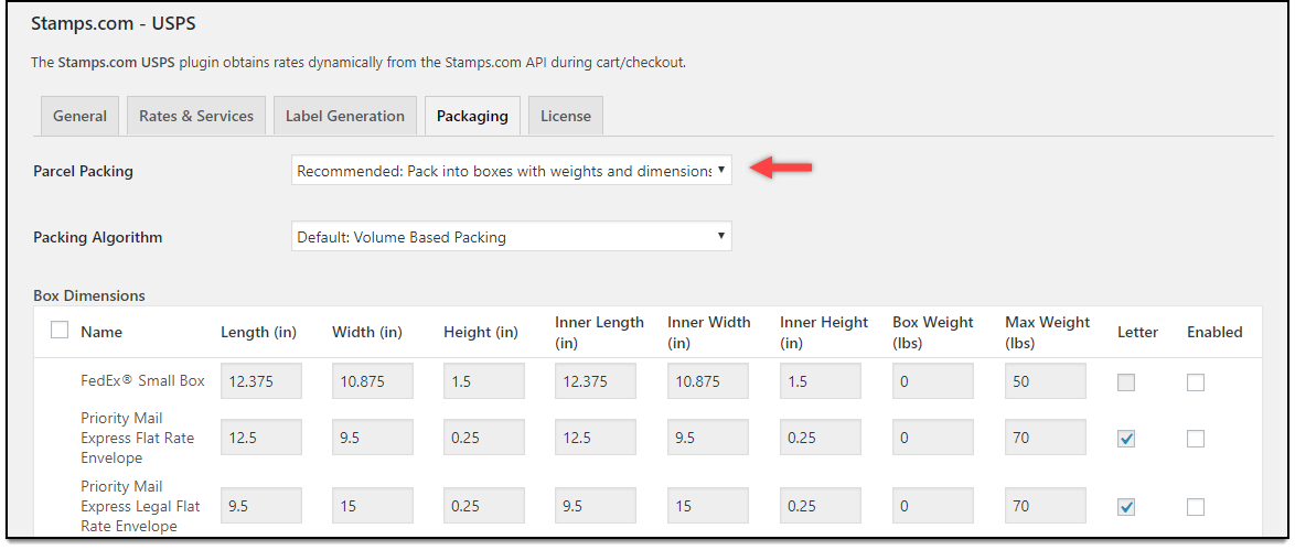 WooCommerce Stamps.com-USPS | Pack into Weights and Dimensions