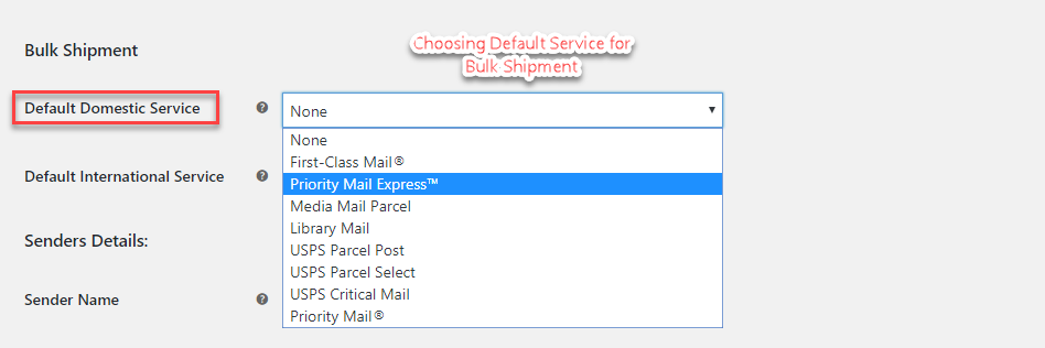 Default services for domestic bulk shipment
