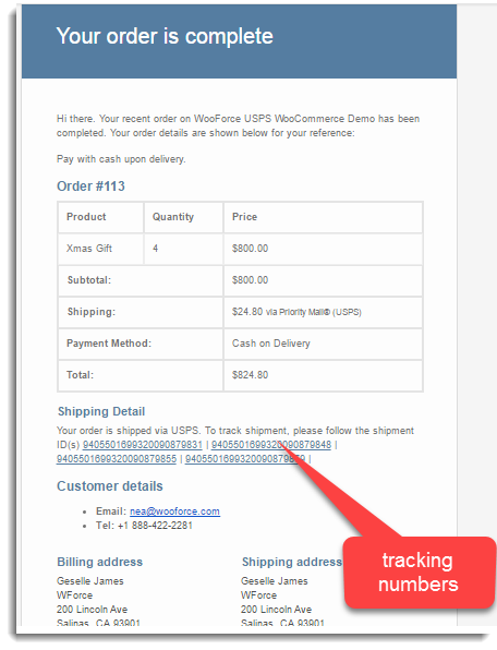 Order Completion Email