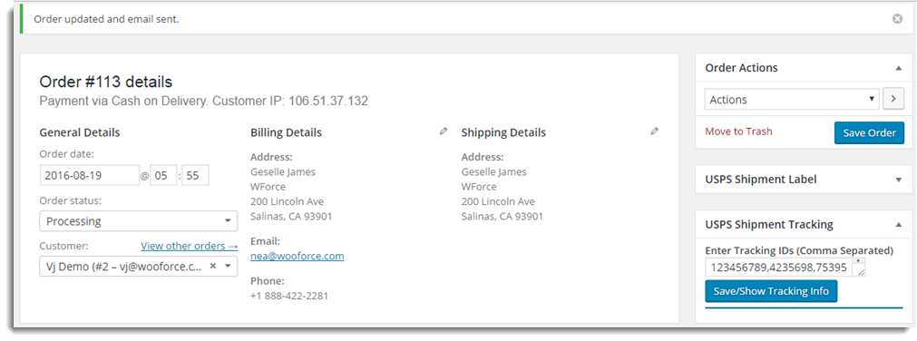 Order Update Message
