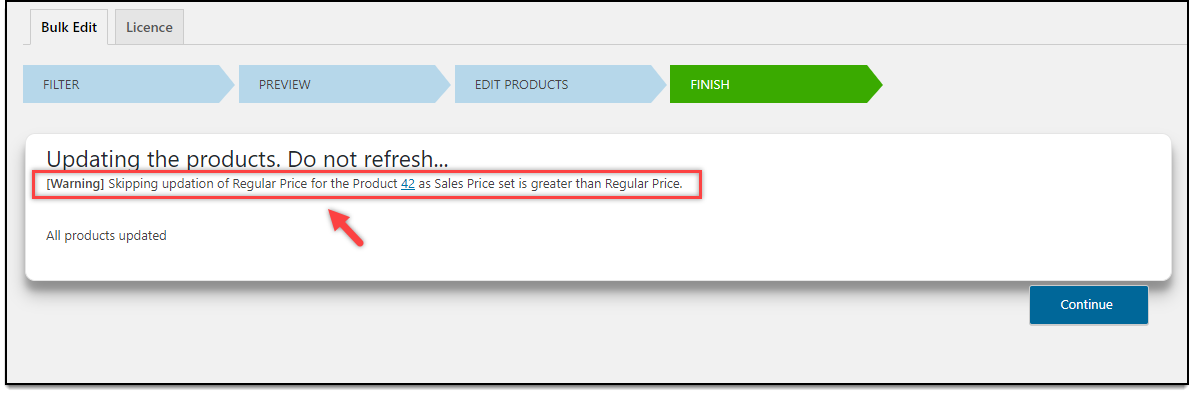 ELEX WooCommerce Bulk Edit Product Prices | Warning Message: Sale Price is greater