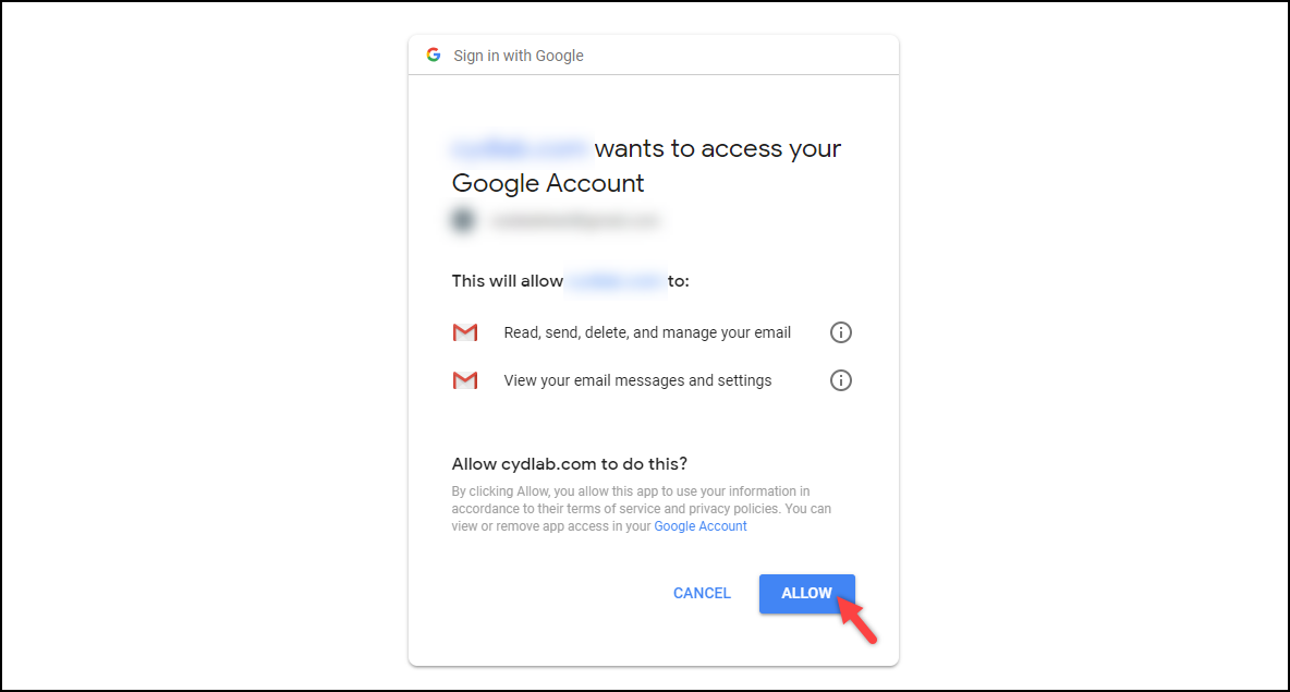 WSDesk Google OAuth | Allow app to access Gmail data