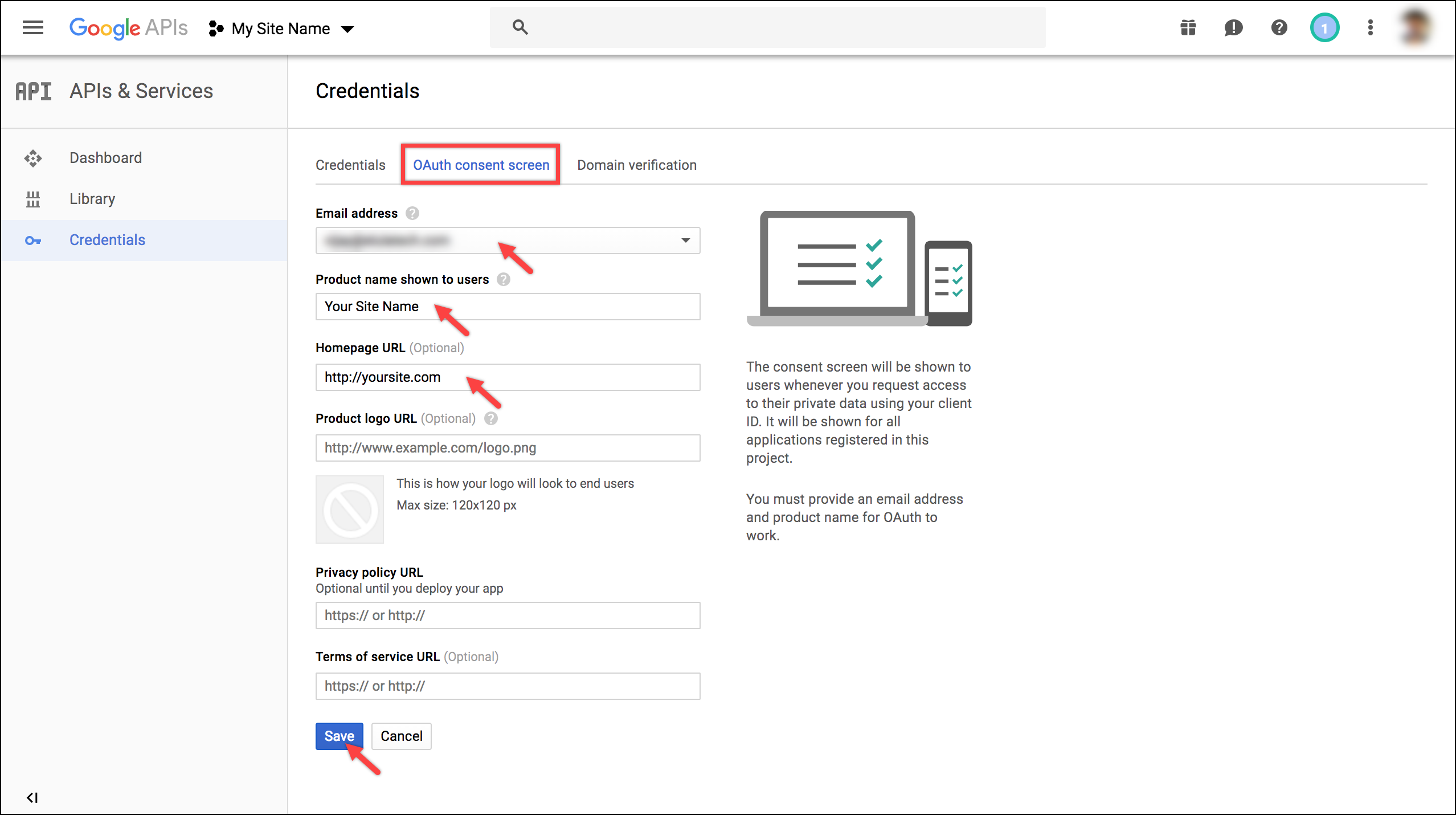 WSDesk Google OAuth | OAuth consent screen