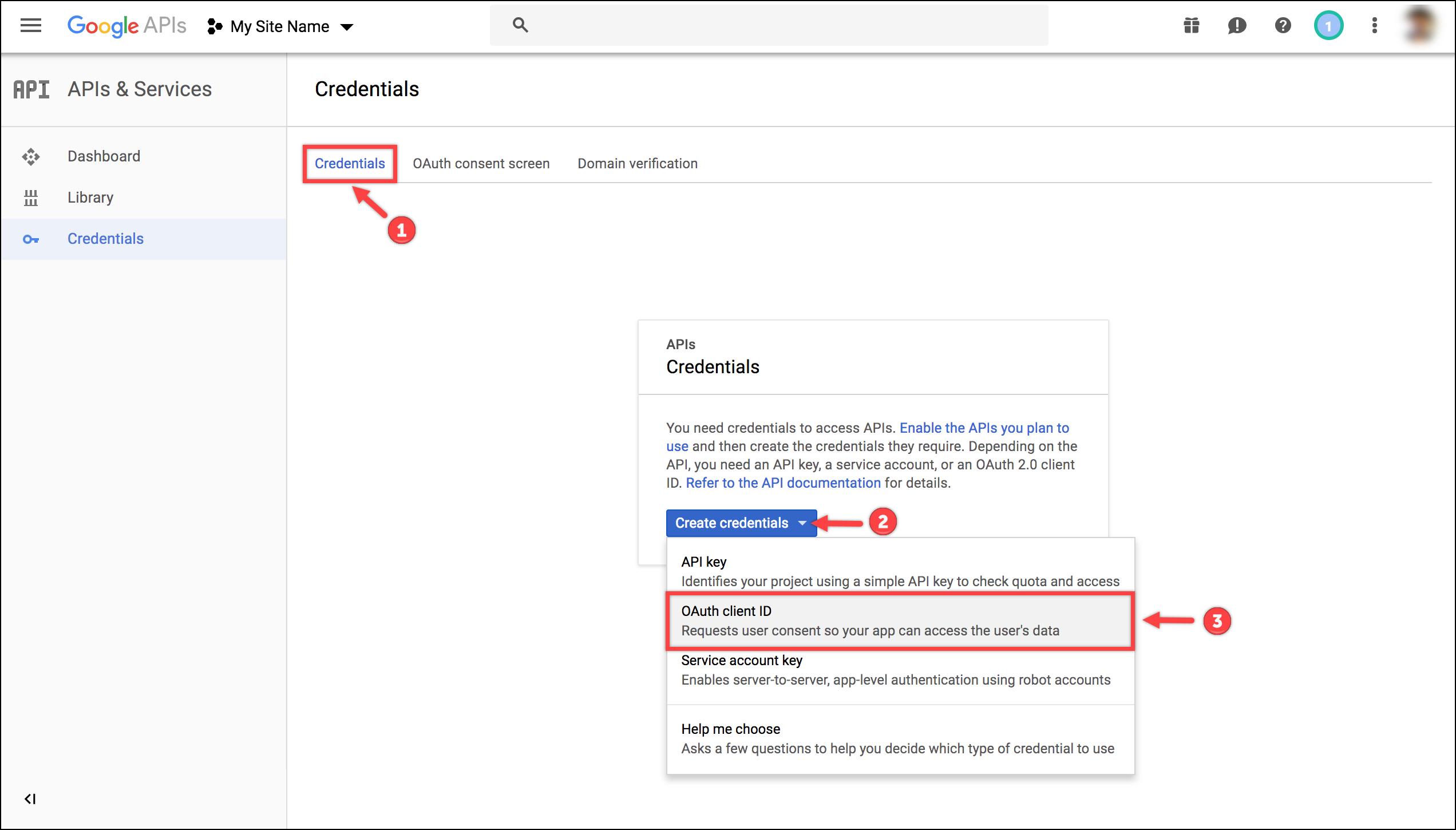 WSDesk Google OAuth | Creating Credentials