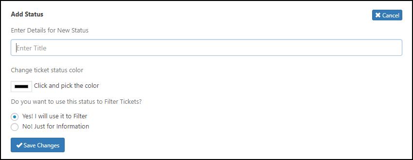 WSDesk | Add Ticket Status