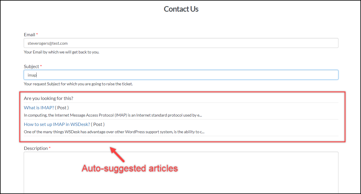 WSDesk Helpdesk | Auto-suggested article for Customers