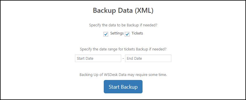 WSDesk | Backup Data settings