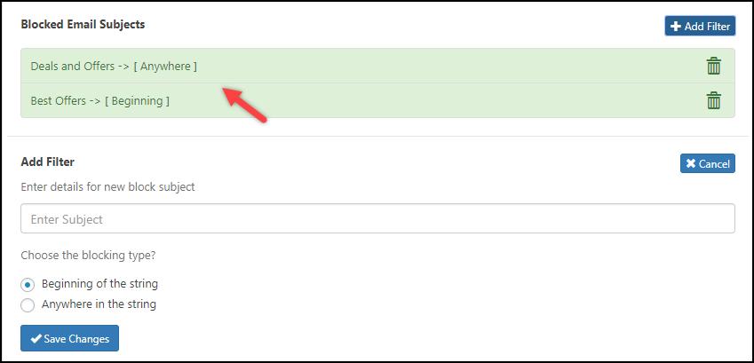 WSDesk | Blocked Email Subjects
