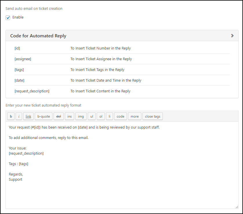 WSDesk | Auto Reply Email settings
