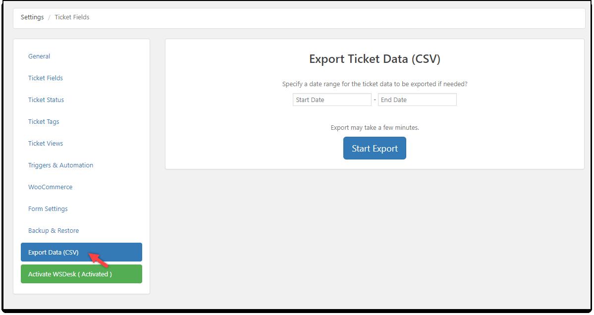 WSDesk | Export Data (CSV)