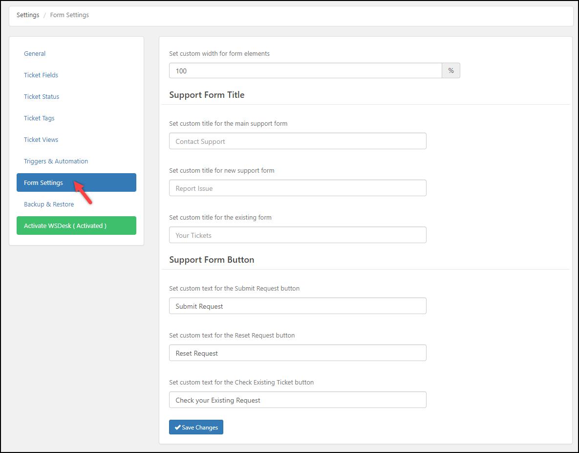 WSDesk | Form Settings