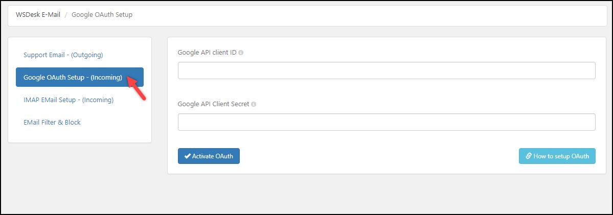 WSDesk | Google OAuth settings