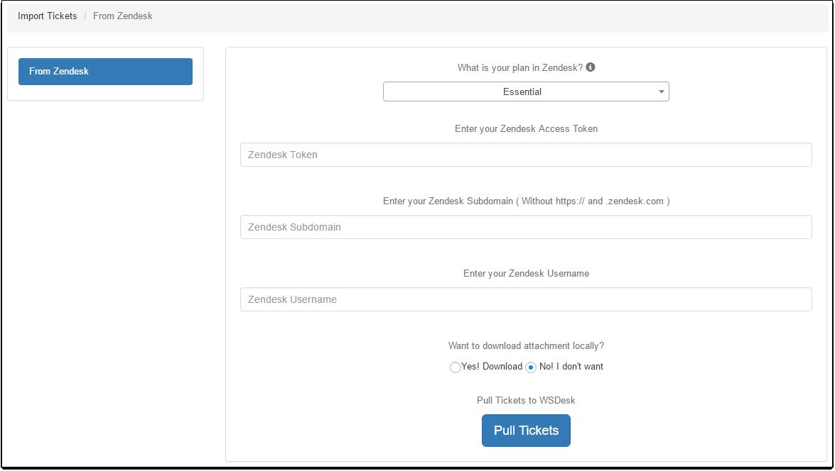 WSDesk | Importing Zendesk Tickets