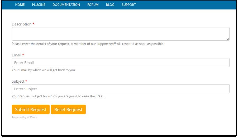 WSDesk WordPress HelpDesk | Re-ordered tickets fields in Support form