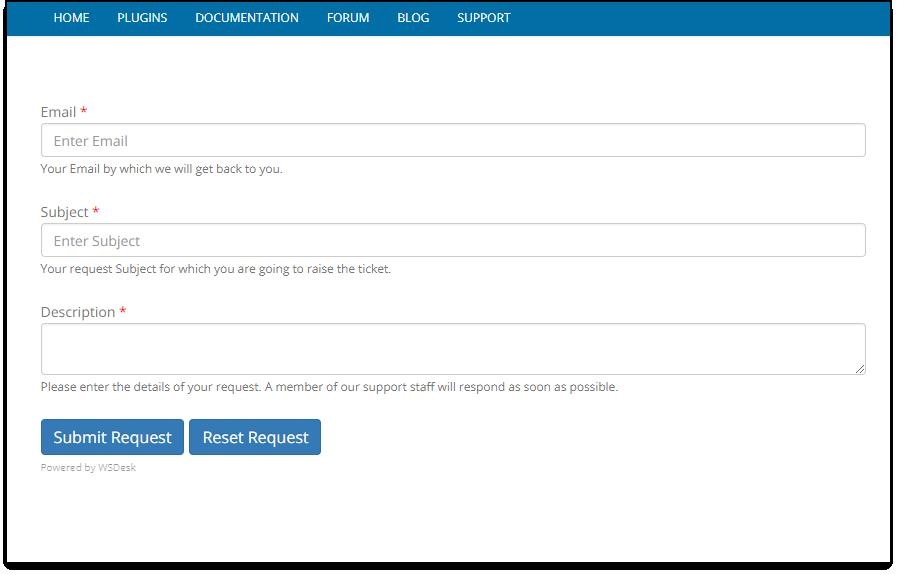 WSDesk WordPress HelpDesk | Support Form