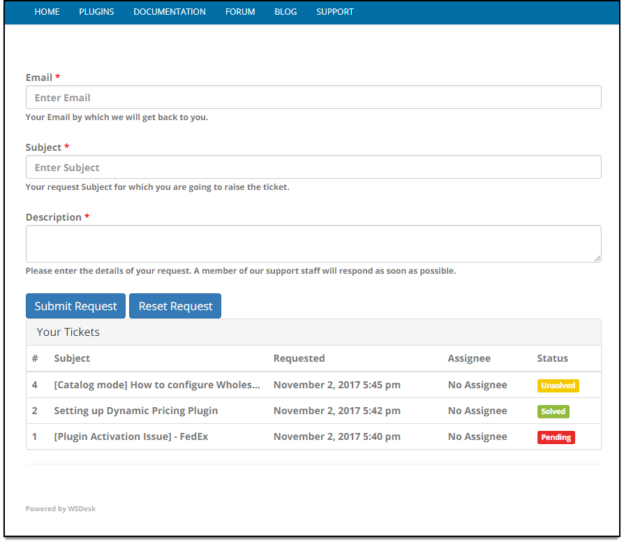 WSDesk WordPress HelpDesk | Support form with Existing tickets