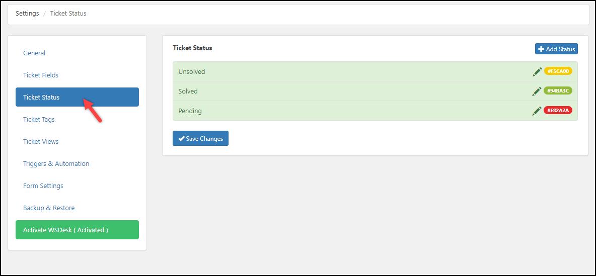 WSDesk | Ticket Status settings