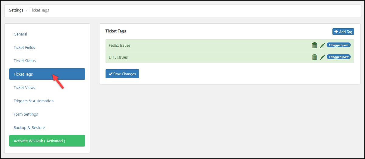 WSDesk | Ticket Tags settings