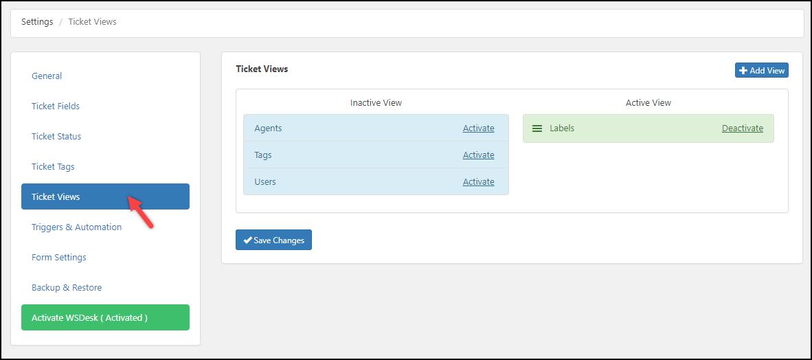 WSDesk | Ticket Views settings
